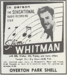 "Cartaz do show de Slim Whitman, com ""Ellis"" Presley, entre outros"