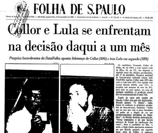 Collor e Lula se enfrentam no 2º turno