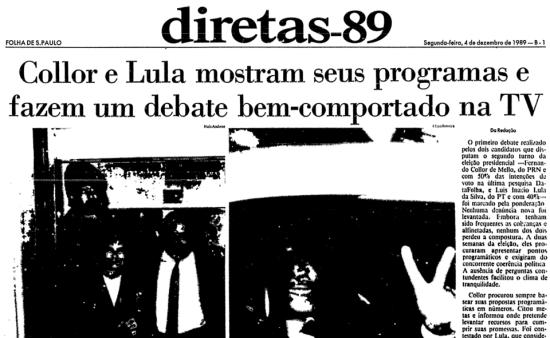 No 1º debate do 2º turno, Collor e Lula mantém moderação
