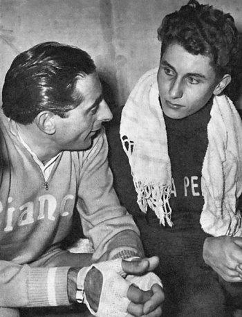 Coppi e Anquetil: os dois estiveram na viagem para a África