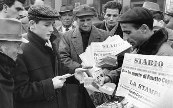 Jornais estampam a morte de Coppi