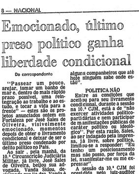 Último preso político é anistiado no Brasil