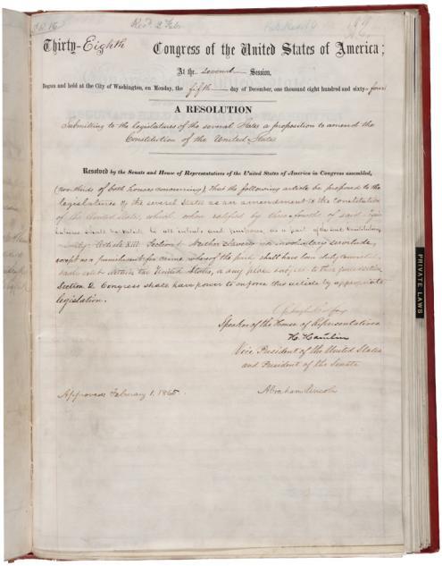 Ratificação da 13ª Emenda põe fim à escravidão nos EUA
