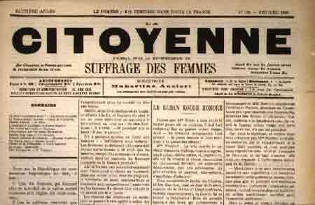 Jornal feminista La Citoyenne publica a primeira edição
