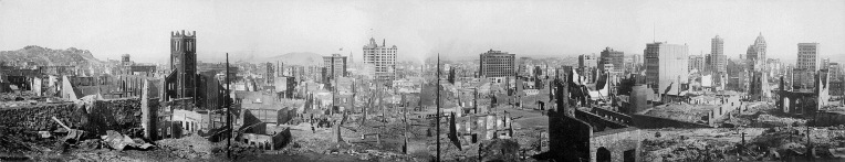 Vista panorâmica da destruição