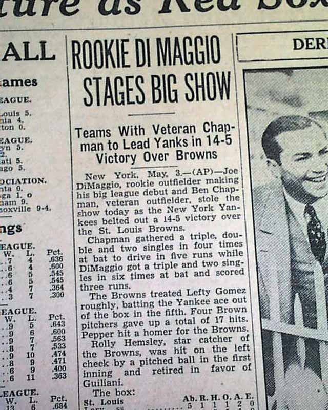 Relato da estreia de DiMaggio