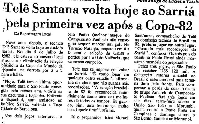 Pelo São Paulo, Telê volta ao Sarriá (e vence)