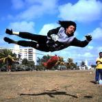 """""""Voando"""" em treino com a seleção, no Equador"""