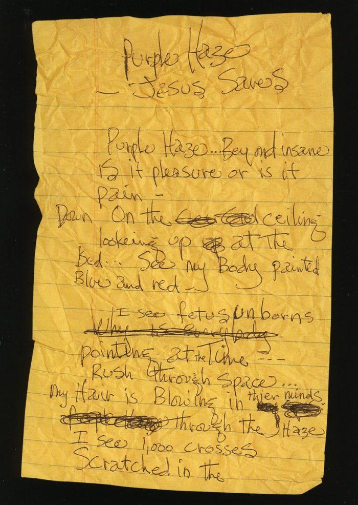 """Jimi Hendrix escreve a letra de """"Purple Haze"""""""